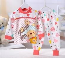 2016 Retail pyjamas Sleepwear thermal underwear  winter two-pieces suit baby boys girls clothes children's apparel Cartoon(China (Mainland))