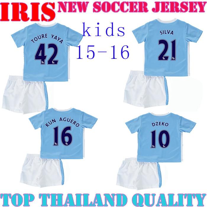 CITY jersey 2016 kids TOURE YAYA 42 home children 15 16 FERNANDINHO KUN AGUERO 16 DZEKO football shirt SILVA KOMPANY jersey(China (Mainland))