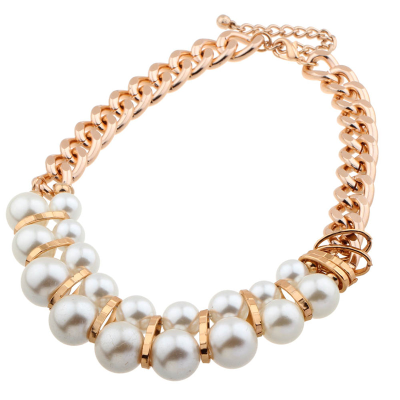 Fashion woman plating gold chain necklace crystal imitation pearls short ball tassel collares necklace Mother's day gift collier(China (Mainland))
