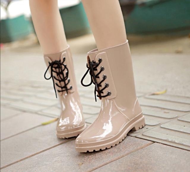 Сапоги бесплатная доставка новых прибыть мода свободного покроя англии стиль женщины дождь круглый носок номера мартин вода размер 35 - 40