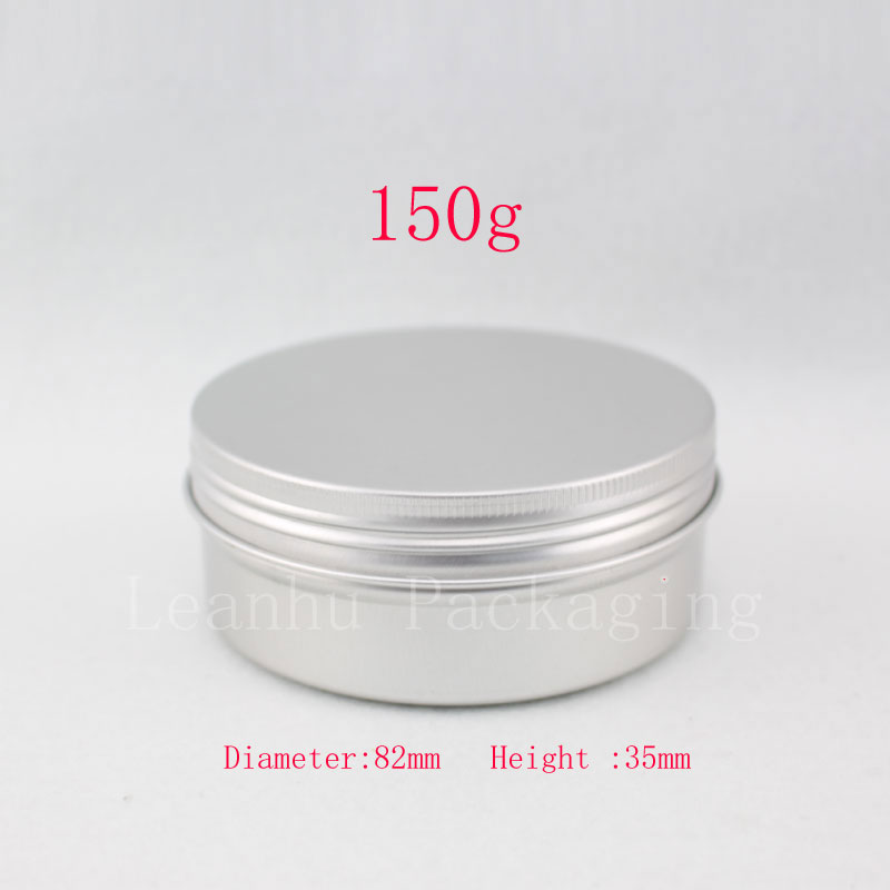 150g empty aluminum metal tin cans with screw cap ,round aluminum bottles ,empty cosmetic containers,metal cream container pot(China (Mainland))