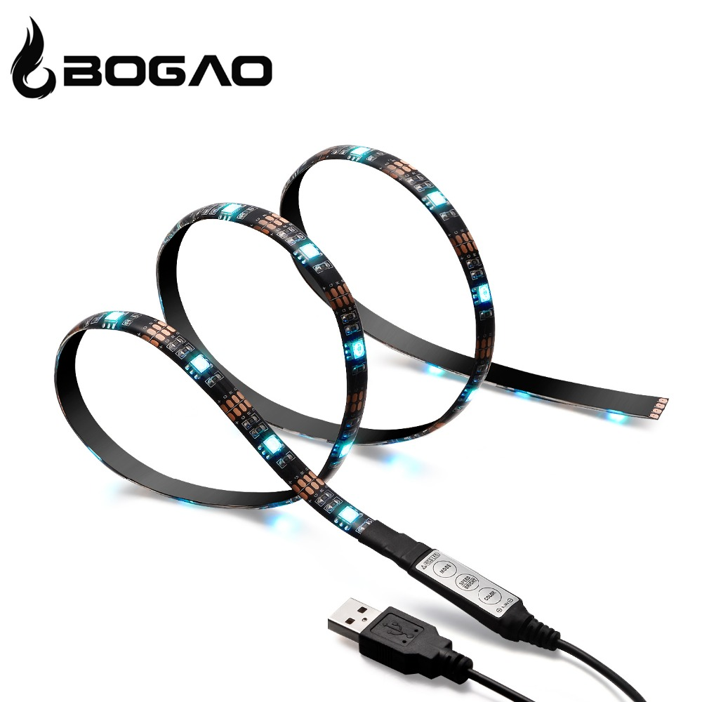 Bogao RGB 90cm USB LED Strip Light DC5V TV Background Lighting Waterproof Cuttable With USB Cable 27LEDs 5050 backlight strip(China (Mainland))
