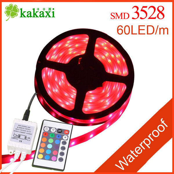 SMD 3528 RGB multicolour LED Light Strip 5M/roll Flexible 300 LEDs 60leds/Meter Waterproof 24 Key IR REMOTE Controller - Shenzhen Kakaxi Lighting co., Ltd store