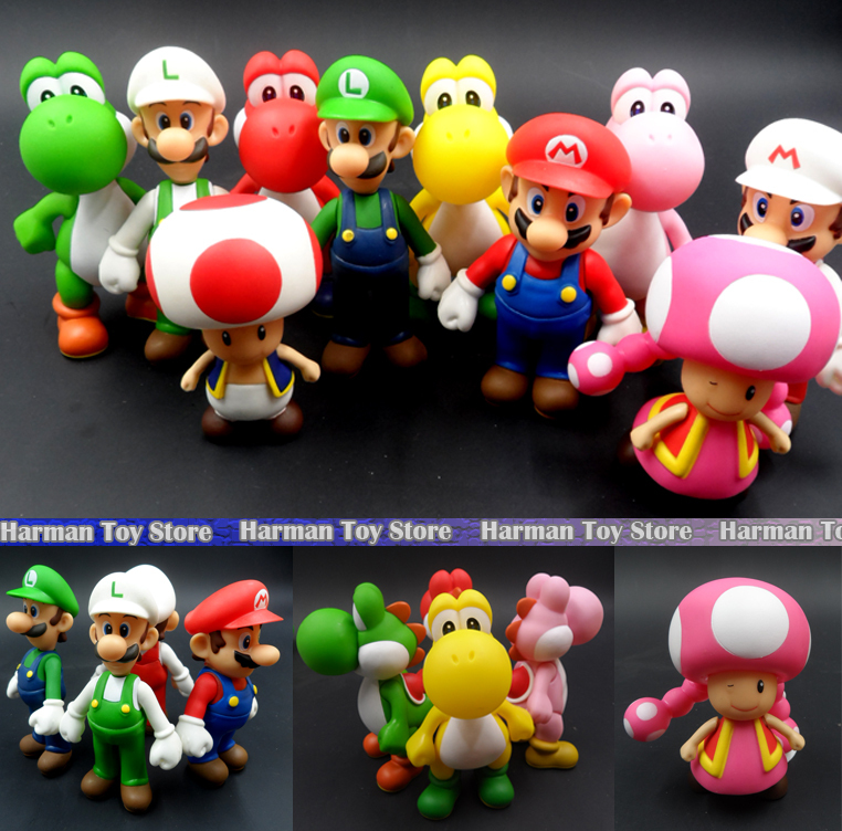 13cm characters Super Mario Bros Luigi Mario Action Figure set PVC Super Mario Figure Model Doll Best Chirstmas Gift Kid toys(China (Mainland))