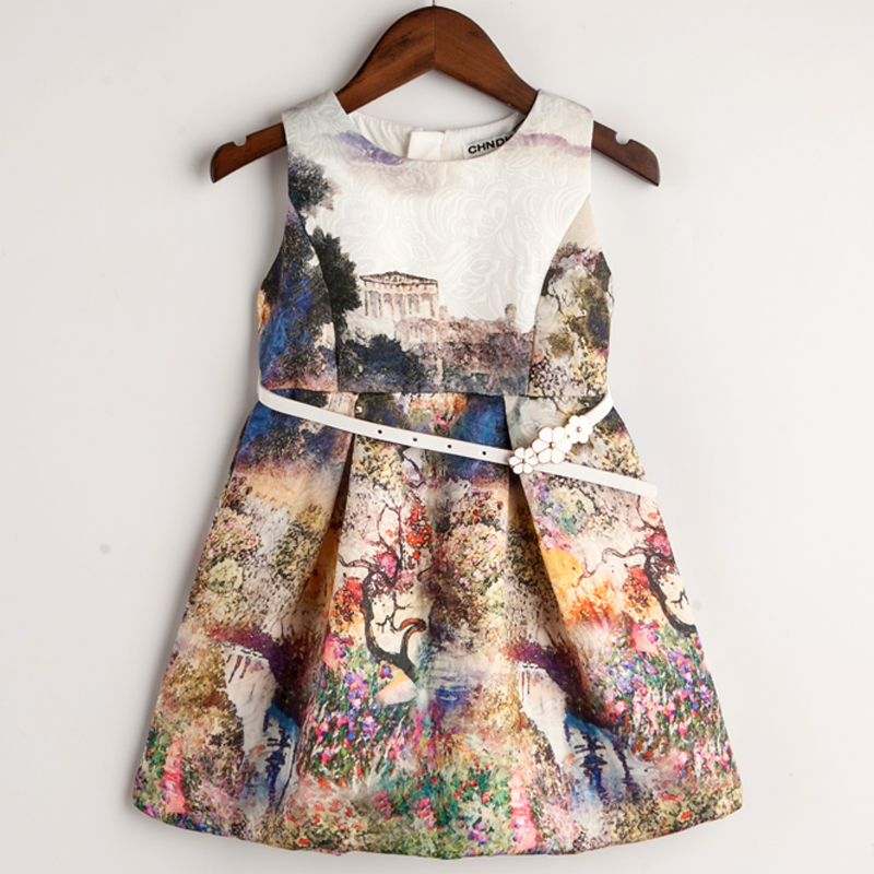 Kids Clothing Winter Autumn Dresses for Girls Princess Style Girl Dress Print Fashion Birthday Party Dress Baby Children Clothes(China (Mainland))