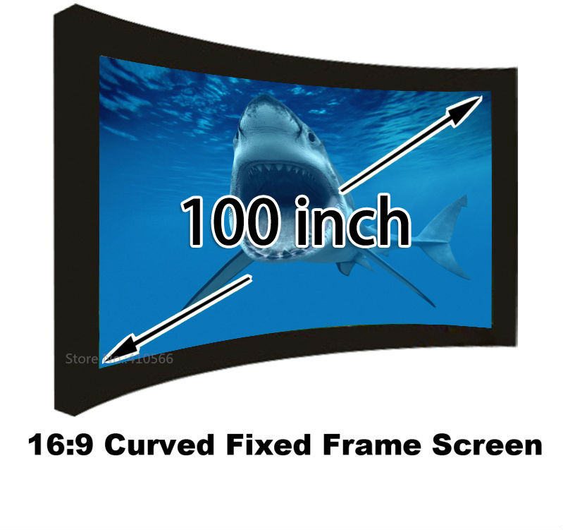 New arrival 16:9 100 inch  matt white curved fixed frame projection screen for 3D home cinema system<br><br>Aliexpress