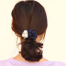 Buy New Girls Flower Pearl Hair Holder Gum Hair Ponytail Elastic Headdress Hair Band Hair Accessories for $1.18 in AliExpress store