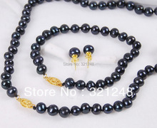 Free shopping new 2014 DIY 8-9mm Black Akoya Cultured Pearl Necklace Bracelet Earrings Set GE5013(China (Mainland))