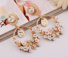 Summer Style Earrings For Women Brincos Romantic Boho Chic Carved Turkish Coins Drop& Polymer Flower Brazil Chandelier Earring(China (Mainland))