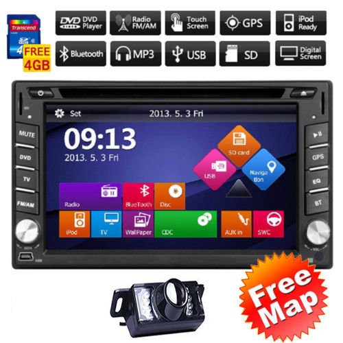 GPS Navi HD TouchScreen 6.2 in-dash Car Radio Audio Player Double 2DIN Car Stereo CD DVD Media Player BT iPod MP3 TV+Rear CAM<br>