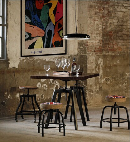 Retro Home Bar KTV industry to do the old wood bar tables and chairs Cafe chairs mechanical lift chairs(China (Mainland))