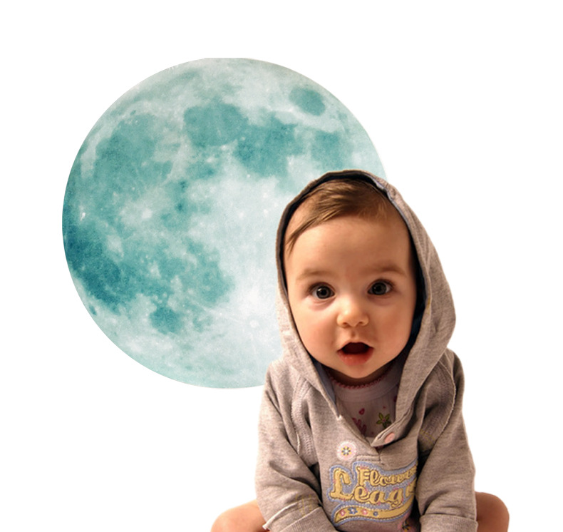 2016 3D Luminous Planet Wall Stickers World Moonlight Glow In The Dark Moon Earth Wall stickers Decals For Kids Rooms wall decor(China (Mainland))