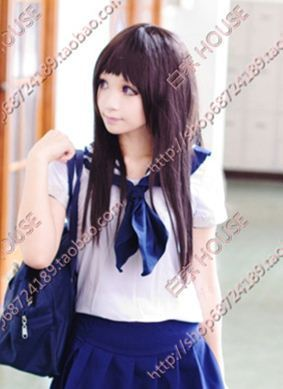 Free shipping Cos wig 24 inches deep brown Long straight hair modelling is a beautiful girl(China (Mainland))
