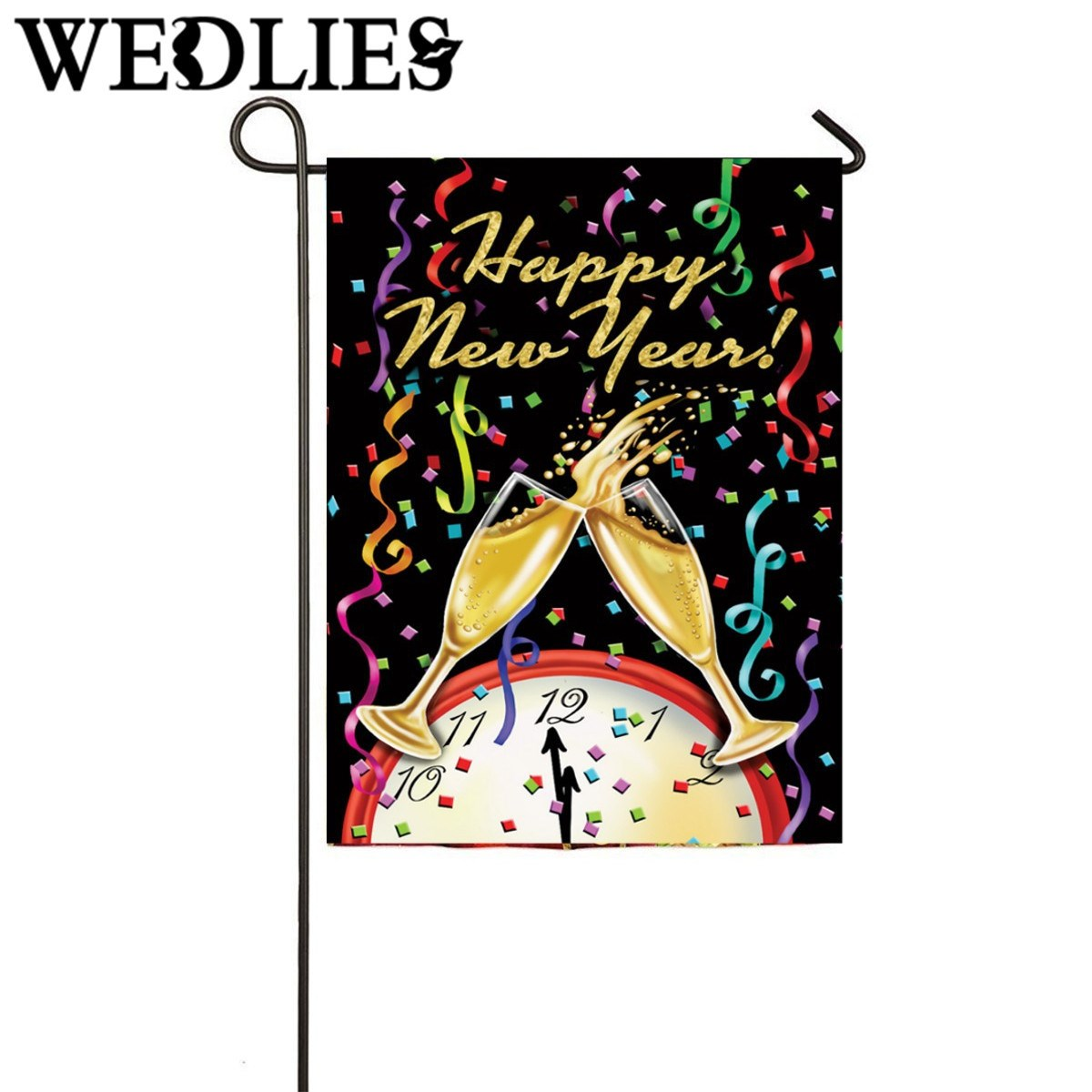 New Year Ornament Flag Champagne Confetti Clock Garden House Flag New Year Party Events Decorative Crafts Favor 31.8X45.7CM(China (Mainland))