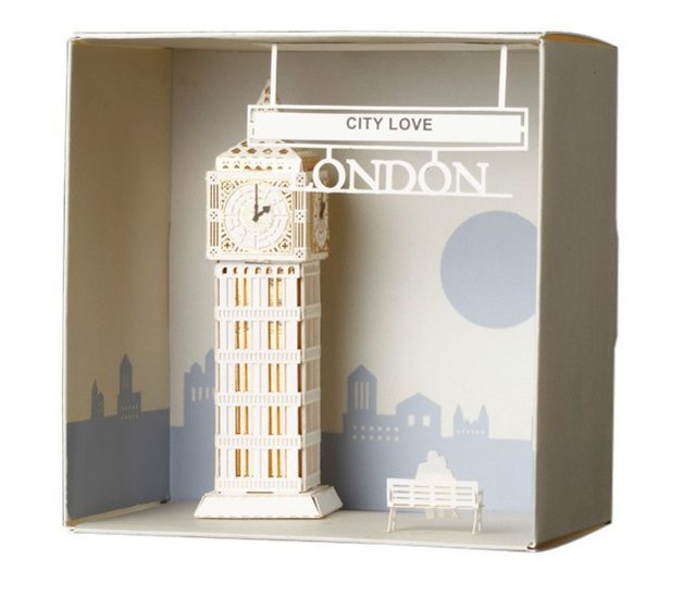 Hot sale DIY 3d cards material bag the big ben in London city love greeting card girls birthday Christmas Valentine's Day gifts(China (Mainland))