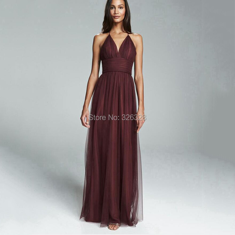 Lilac Brown A Line Tulle Haletr Neck Bridesmaid Dresses With Wide Sash 2016 Open BAck Eye Catching Simple Sexy Style vestido(China (Mainland))