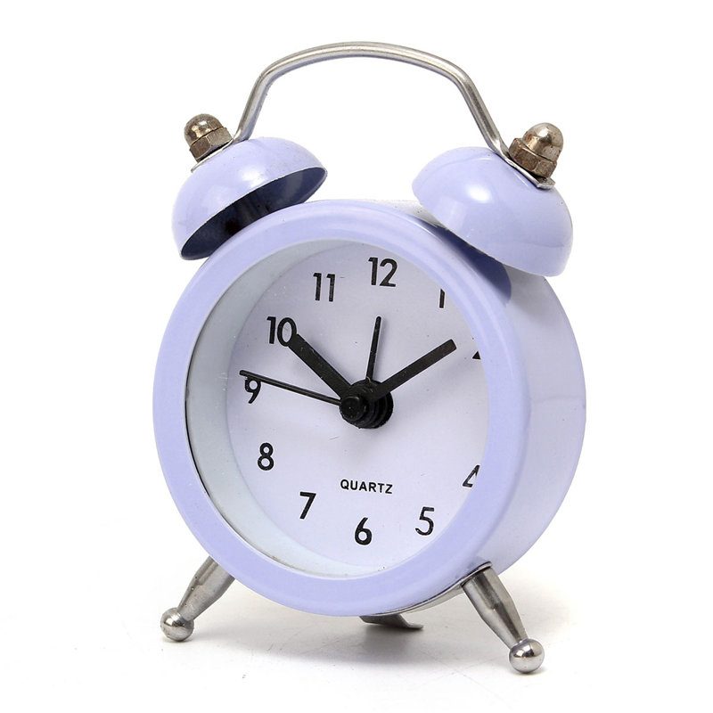 New Fashion Home Decor Metal Double Twin Bell Silent No ticking Metal Desk Table Alarm Clock 6 Colors 50x45x115mm(China (Mainland))