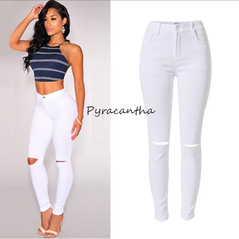 Hot Jeans Pants 2016 Womens Fall Fashion Female Denim Strech White color Skinny Hole Ripped Pencil High Waist Plus Size(China (Mainland))
