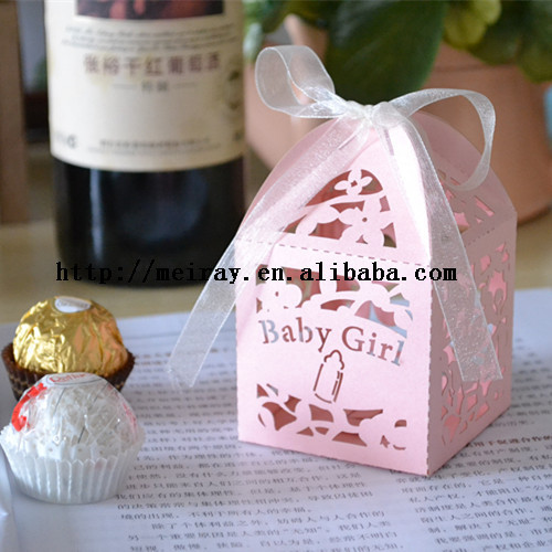 240pcs /lot china wholesale paper crafts! baby shower candy boxes favor,small flower baby girl ,baby box favor boxes for party(China (Mainland))