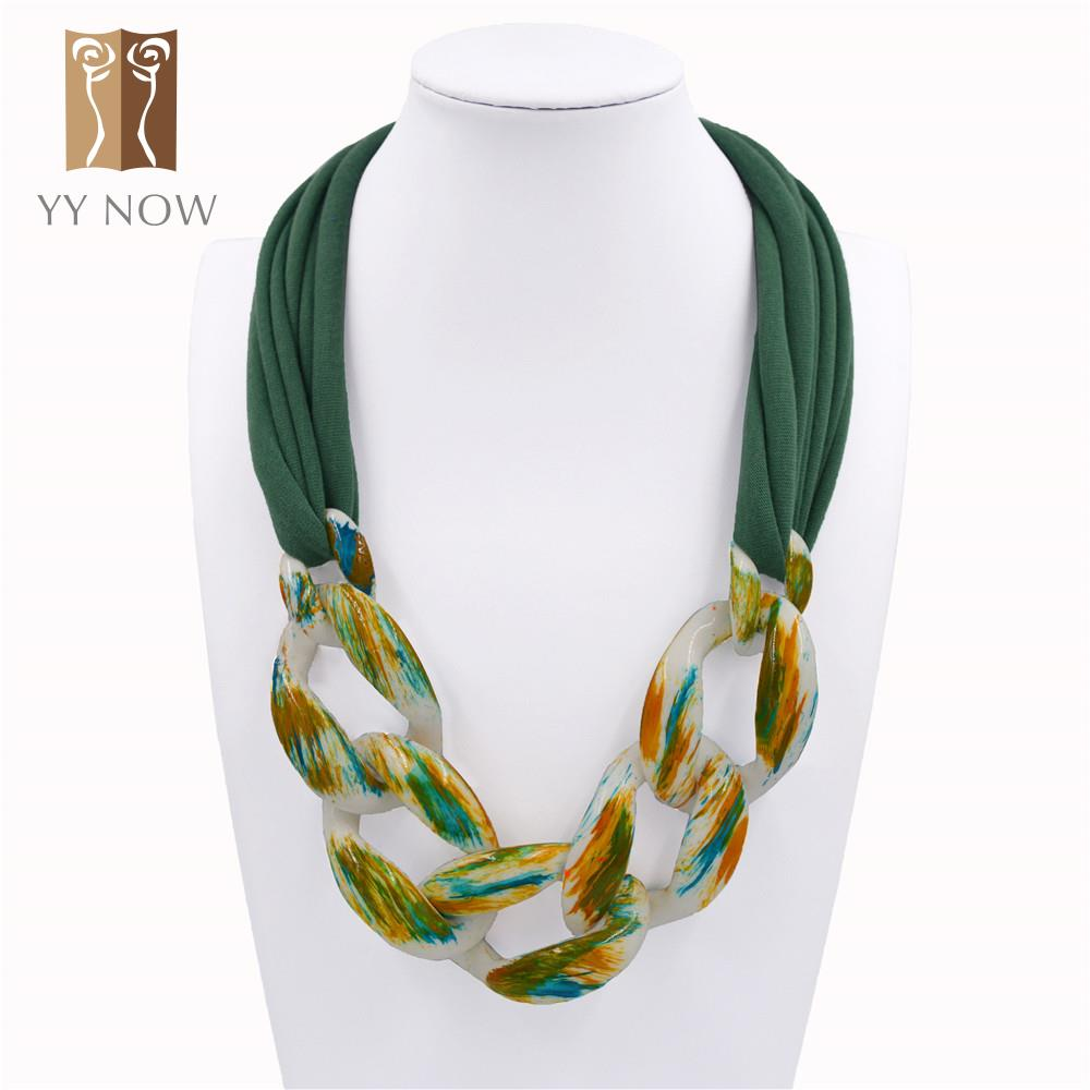 [YY NOW] 2016 New Arrival Women Acrylic Pendant Scarf Fashion Style Women Polyester Jewelry Accessories Scarves More olor(China (Mainland))