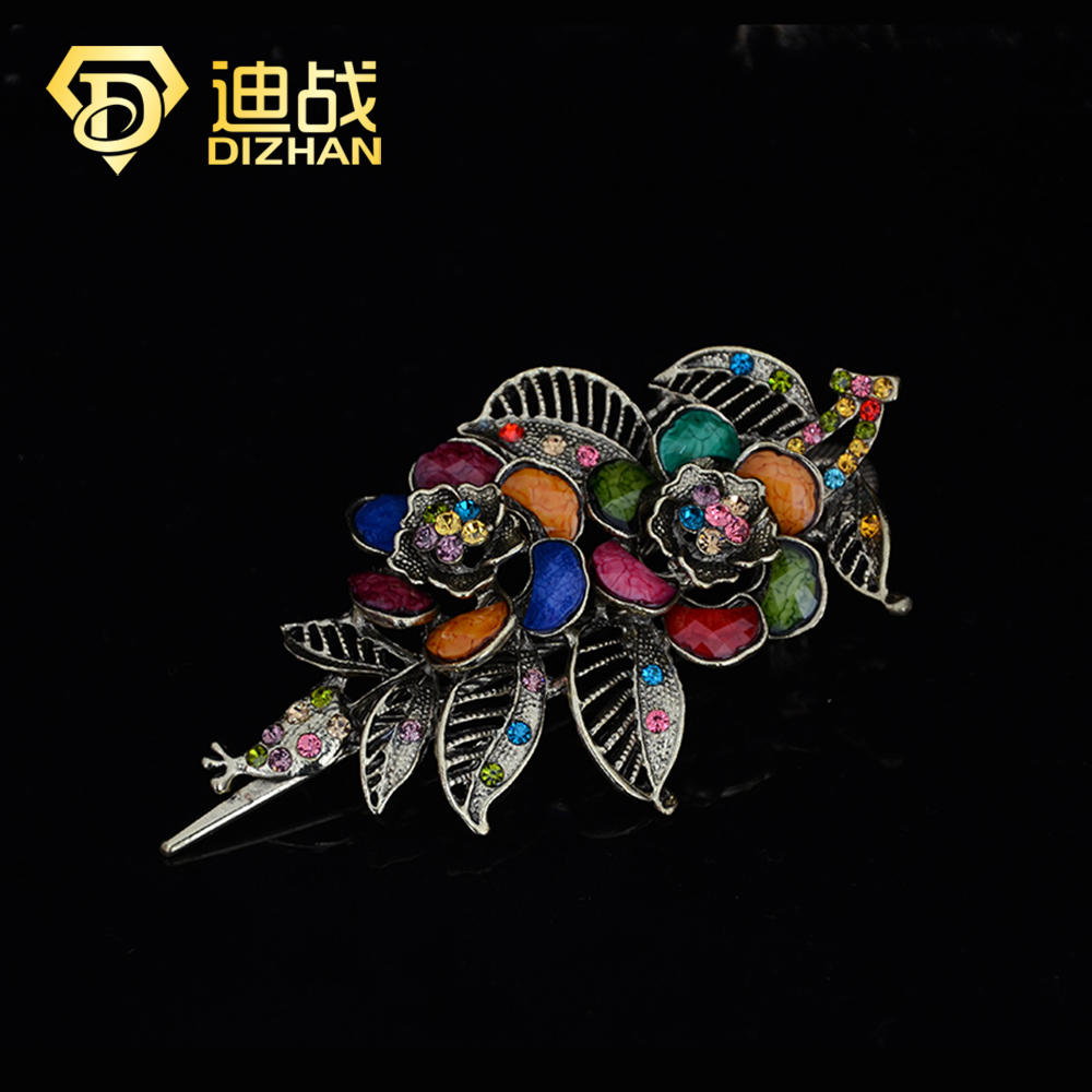 Colorful Women Retro Crystal double Flower Hairpins Hair Stick Hair Clip Barrettes Hair Accessories for women SF472(China (Mainland))