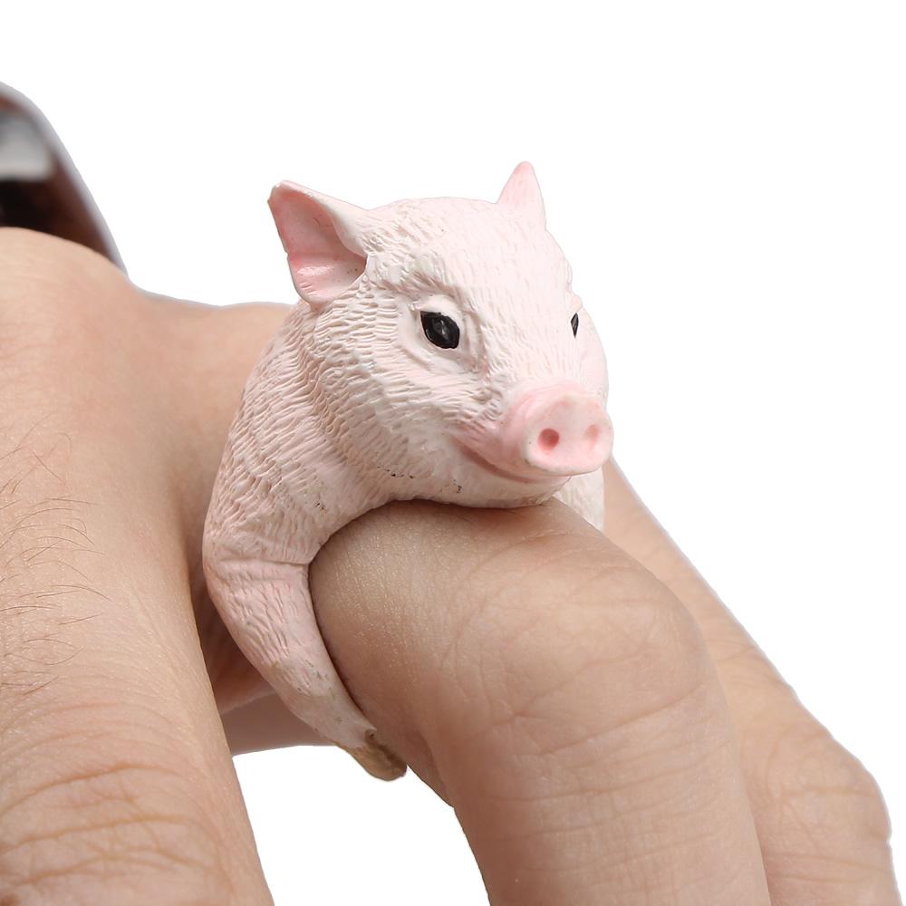 2016 encantador creativo cerdo corte Pink 3D dedo anular de animales partido regalos navidad anillos gemelos mujeres hombres divertidos animales 3D anillo de dedo(China (Mainland))