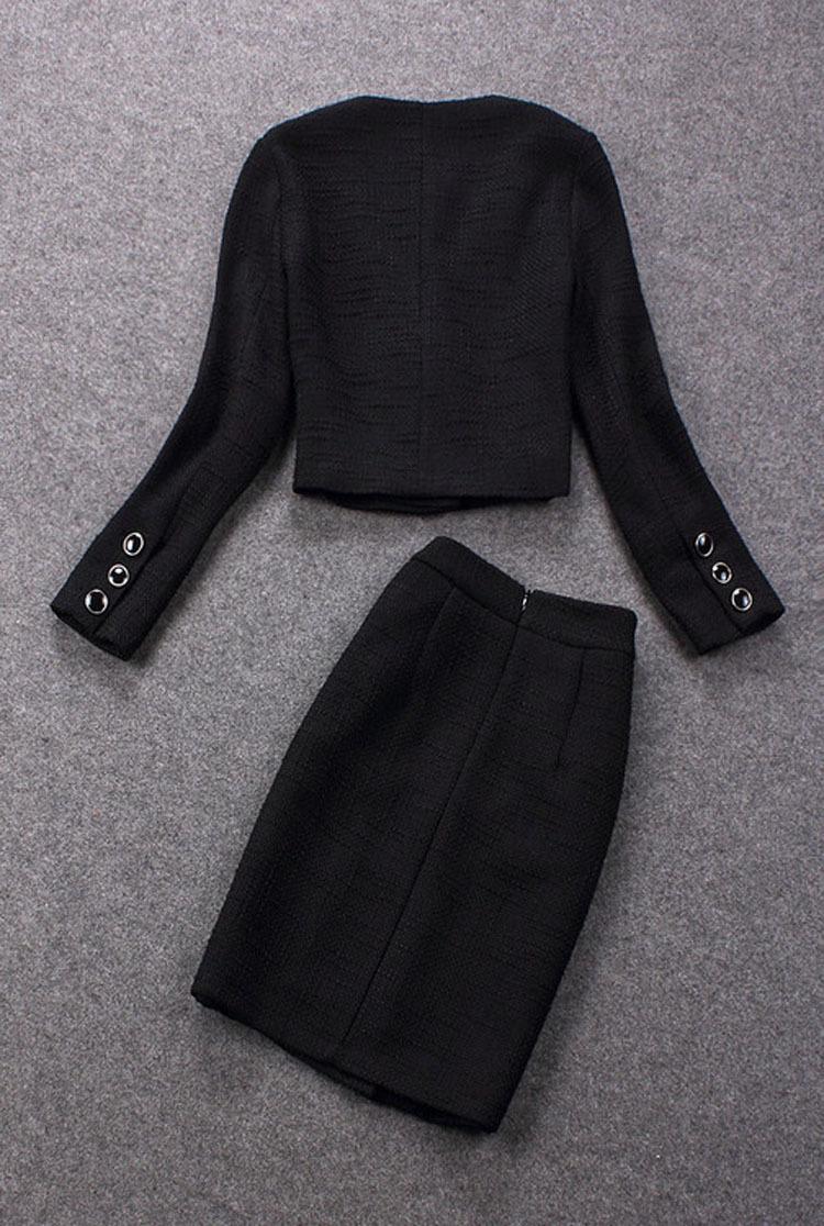 Впп зима cc черный шерсть с v-образным вырезом короткая куртка с юбка пр официальный костюм форме - место приталенный tiwnset