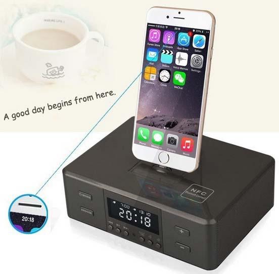 Фотография All In One Gadgets Portable Alarm Clock FM Radio Charging Docking Phone Station Speaker for iPod iPhone Mp3 Player
