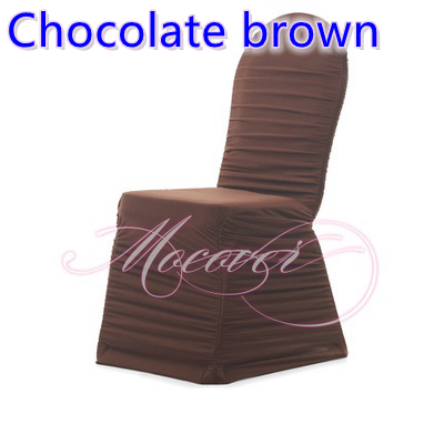 Chocolate brown colour ruffled chair covers universal lycra chair cover spandex pleated cover chair ruched wedding decoration(China (Mainland))