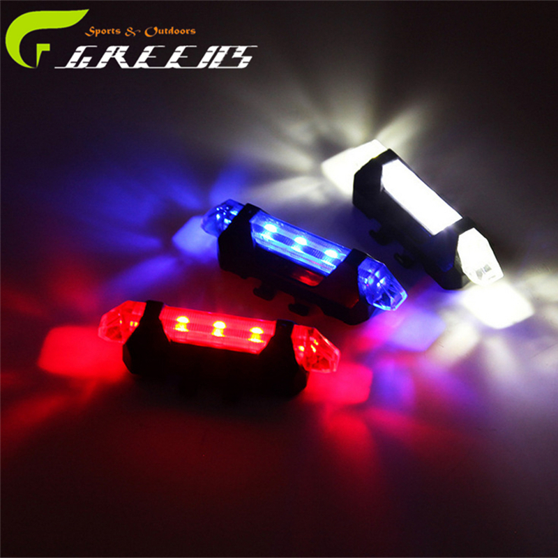 2016 Super Bright Portable USB Rechargeable Cycling Bike Bicycle Tail Rear Safety Warning Light Taillight Red White Blue 4 Modes(China (Mainland))