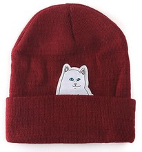 2015 hot beanie new style cat hat hip hop acrylic knit hedging winter hats for women men 8 colors(China (Mainland))