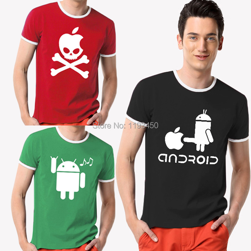 Fashion Men Shirts Android Robot fix Funny t-shirt top quality apple humor logo printed t shirt personalized short sleeve(China (Mainland))