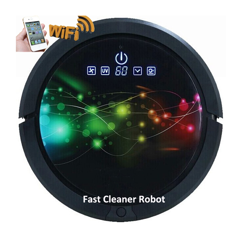 2017 Newest Smartphone WIFI APP Contro wet and dry mop aspiradora robot with water tank,2pcs side brush, self problem check(China (Mainland))