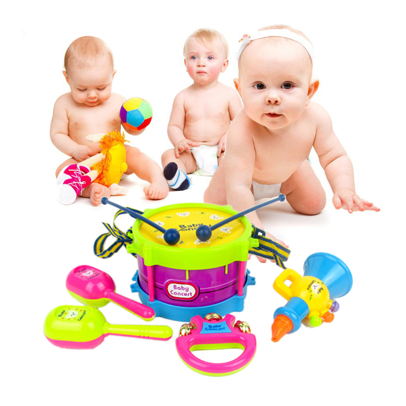 5pcs/set Toy Musical Instrument Kids Toys Roll Drum Musical Instruments Band Kit Children Toy Gift Set FCI#(China (Mainland))