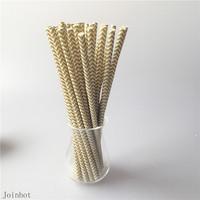 Free Shipping 25PCS Golden Chevron paper drinking straws creative drinking straw Wedding Decorations