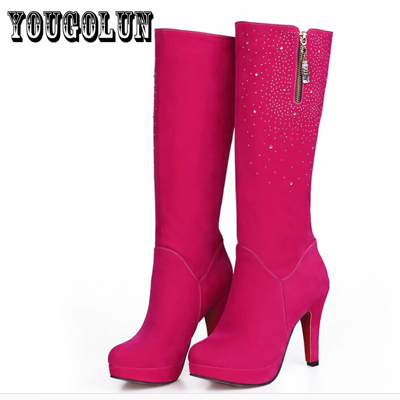 soft PU leather Flock round toe Thin High heels women fashion knee-High boots,2014 Autumn Rhinestone Western Sexy ladies shoes<br><br>Aliexpress