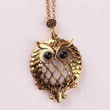 Buy 2017 New Design Antique Gold Chain Pendant Necklace Magnifying Glass Necklace Owl Pendant Necklace Retro Bijoux Gift for $1.37 in AliExpress store