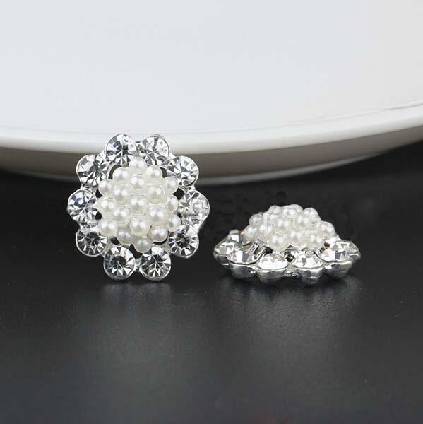 HBC174 20pcs/lot 21MM silver/gold rhinestone buttons wedding invitation card embellishment hair flower accessories()