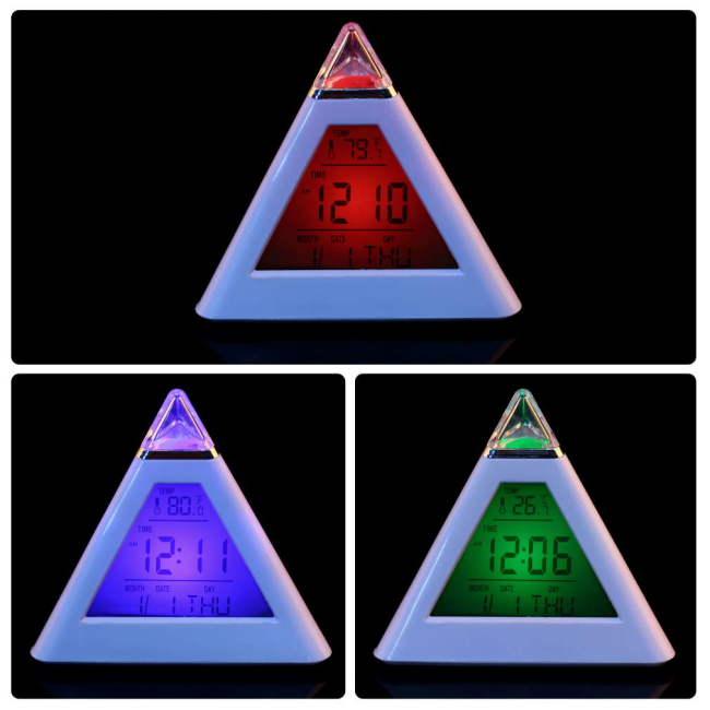 Гаджет  1 pcs Changing LCD Display  Hot LED Color Alarm Clock Thermometer Gif Worldwide FreeShipping Newest None Бытовая техника