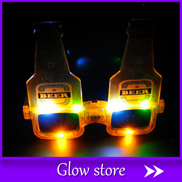 Christmas Halloween Birthday Party decoration supplies LED flash Glasses Luminous beer bottle glasses light toy 10pcs/lot(China (Mainland))