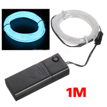 SODIAL 1M Light Green Flash Flexible Neon Light Glow El Strip Tube Wire+Battery Case UK(China (Mainland))