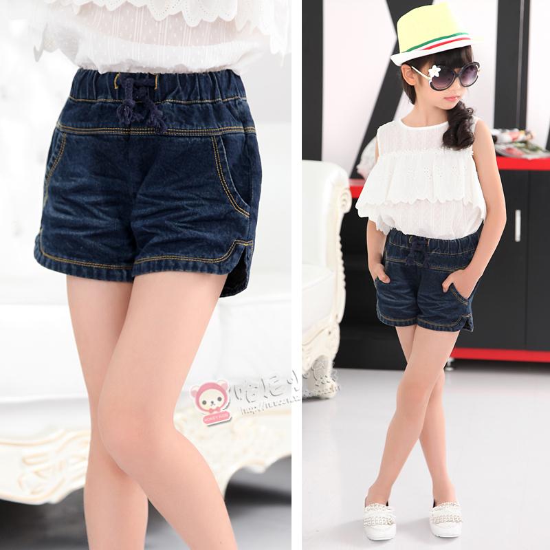 2015 news summers fashion girls shorts jeans with pockets pants children's brand denim kids shorts kikikids size 5-15 years(China (Mainland))