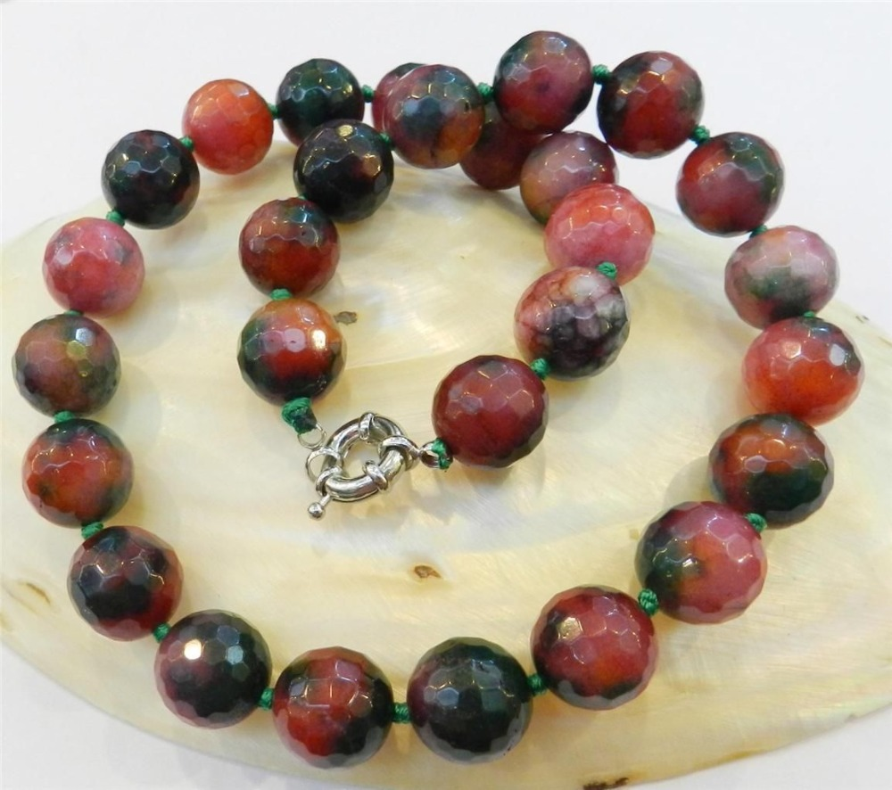 2015 10mm Faceted Natural Multicolor Jade Round Beads Necklace Rope Chain Beads Jasper Jewelry Natural Stone (Minimum Order1)(China (Mainland))