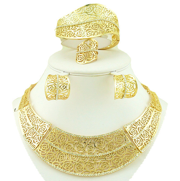 18k gold jewelry sets women necklace african big jewelry sets for wedding party costume jewellery wedding brides(China (Mainland))