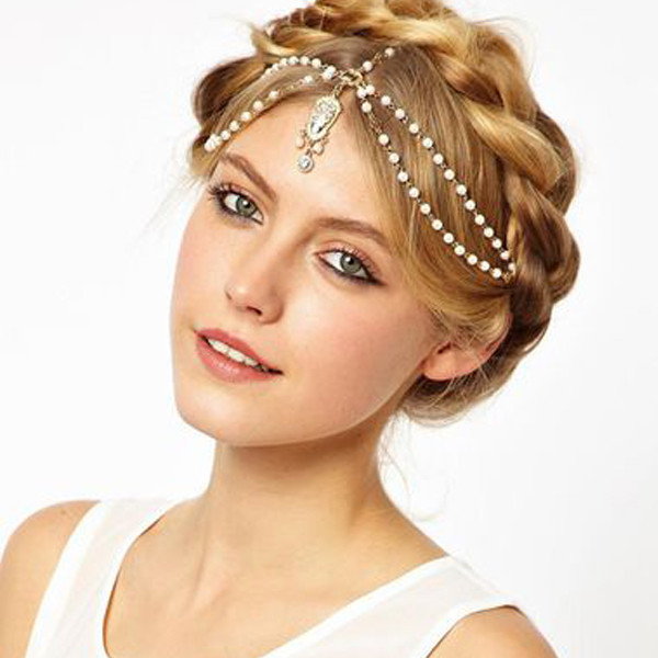 Hair Accessories for women Fashion pearl beaded crystal charms head bands women jewelry bridal Crown hair jewelry 2014 tiara(China (Mainland))