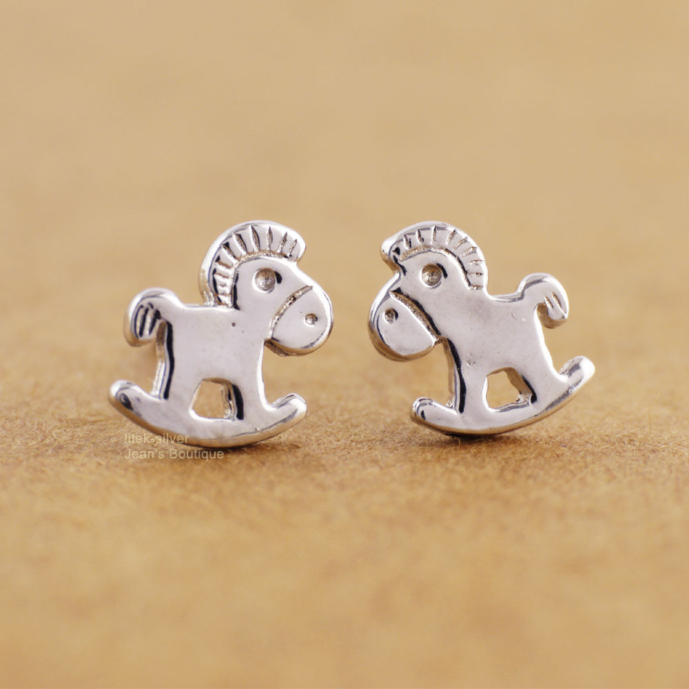 Wholesale 5pcs/lot - 925 Sterling Silver Cute Lovely Little Trojans Horse Stud Earrings KID A1928(China (Mainland))