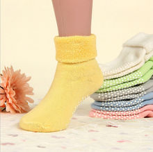 0 3 year old cotton baby socks Autumn and winter thick terry baby socks solid color