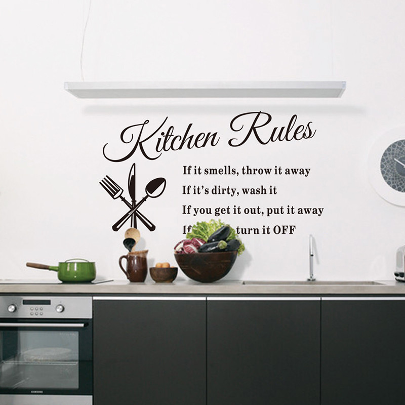Free shipping Removable Wall Stickers Kitchen Rules Decal Home Accessories 8203 Beautiful Pattern Design Decoration home decor(China (Mainland))
