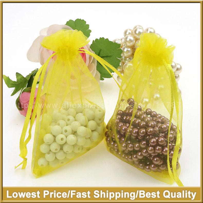 Yellow Organza Packing Bags Saquinho De Organza Tea Storage Bags Customed Logo Printing 7x9cm100pcs/lot Wholesale(China (Mainland))