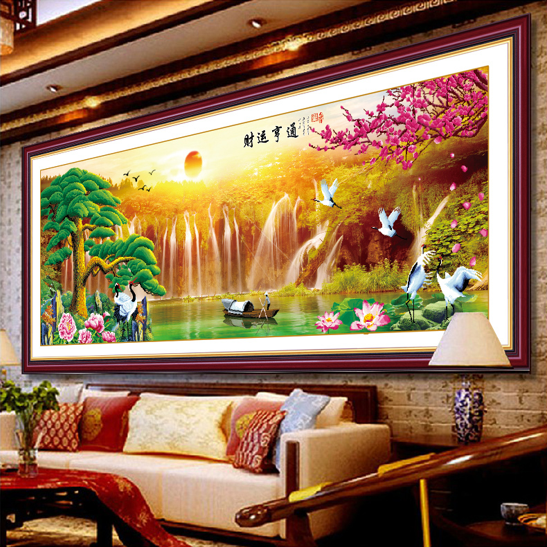 Гаджет  3D stitch new living room series Yingkesong making money flowing stitch stitch landscape large painting decal None Изготовление под заказ